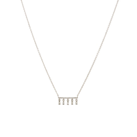 14k gold diamond baguette drop bar necklace