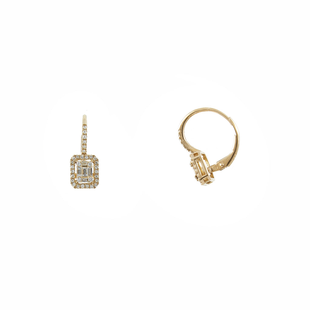 14k gold diamond baguette drops