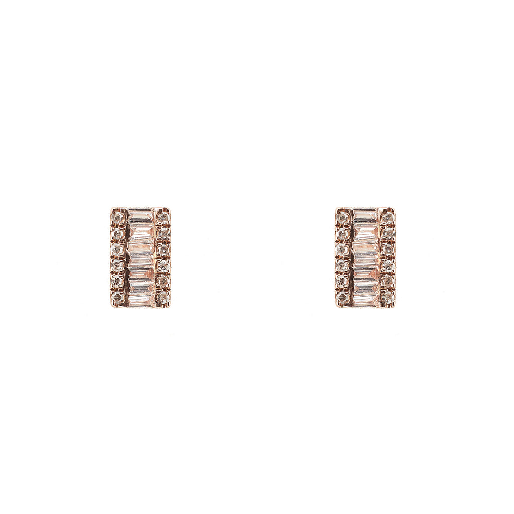 14k gold diamond baguette rectangle studs