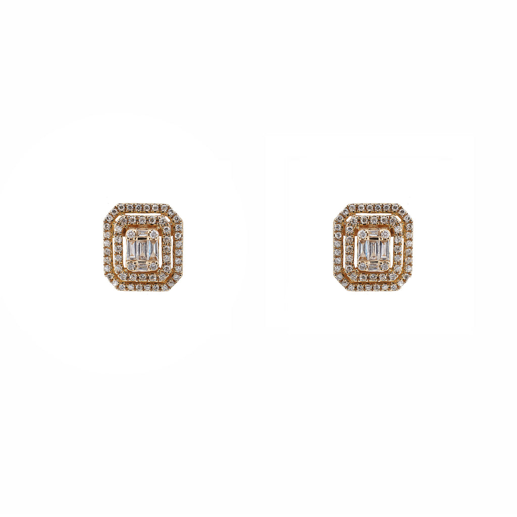 14k gold diamond baguette stud earrings