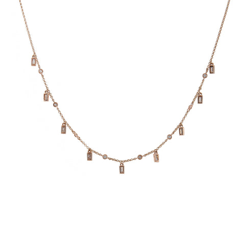 14k gold diamond bezel and baguette drop necklace
