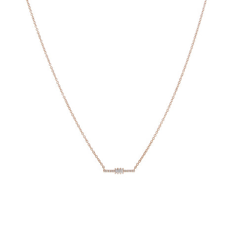 14k gold diamond bar with 3 baguettes necklace