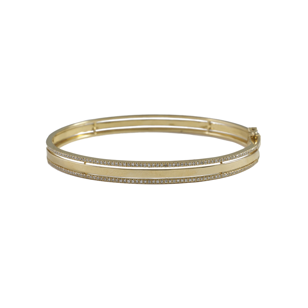 14k gold diamond border bangle