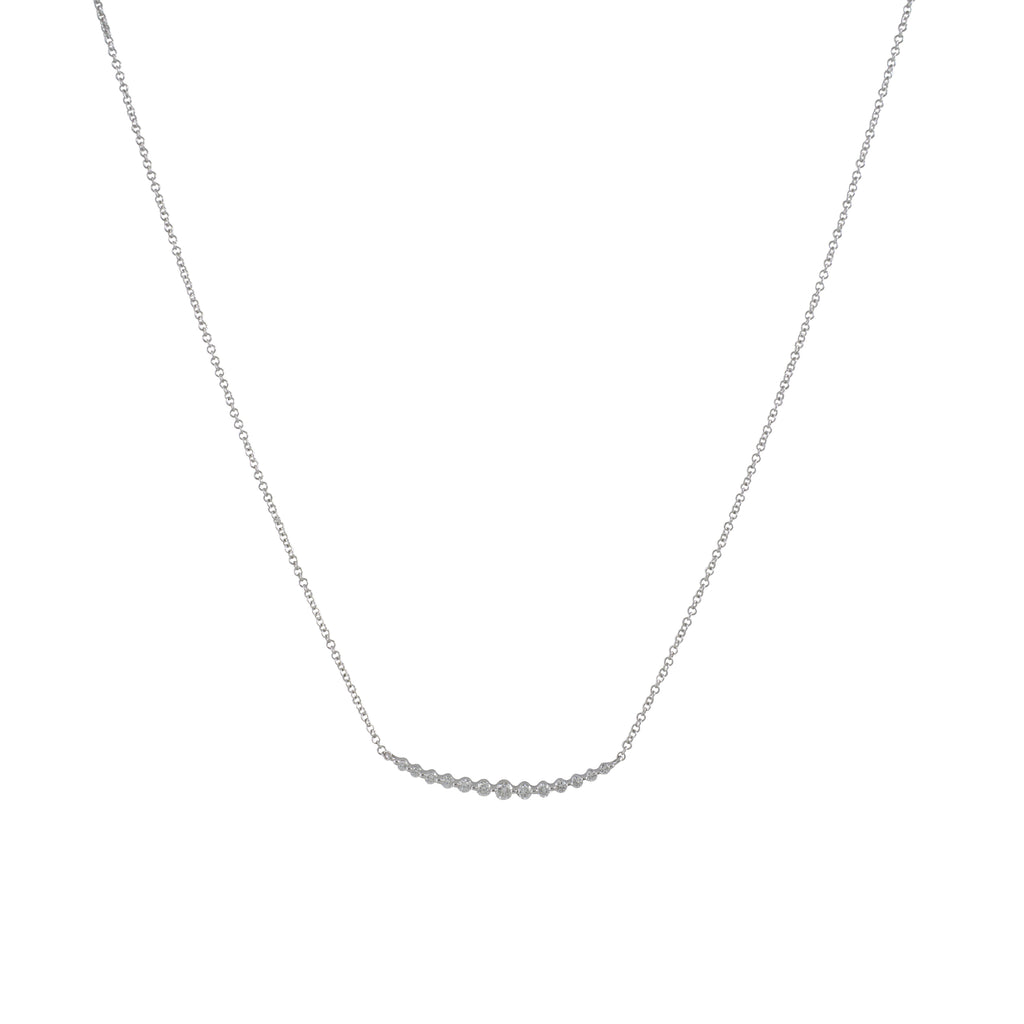 14k gold diamond bezel curved necklace