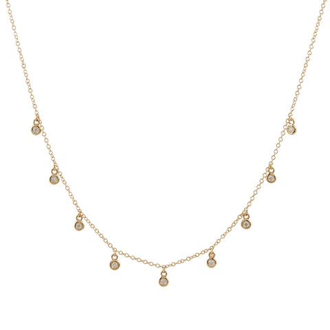 14k gold bezel drop necklace