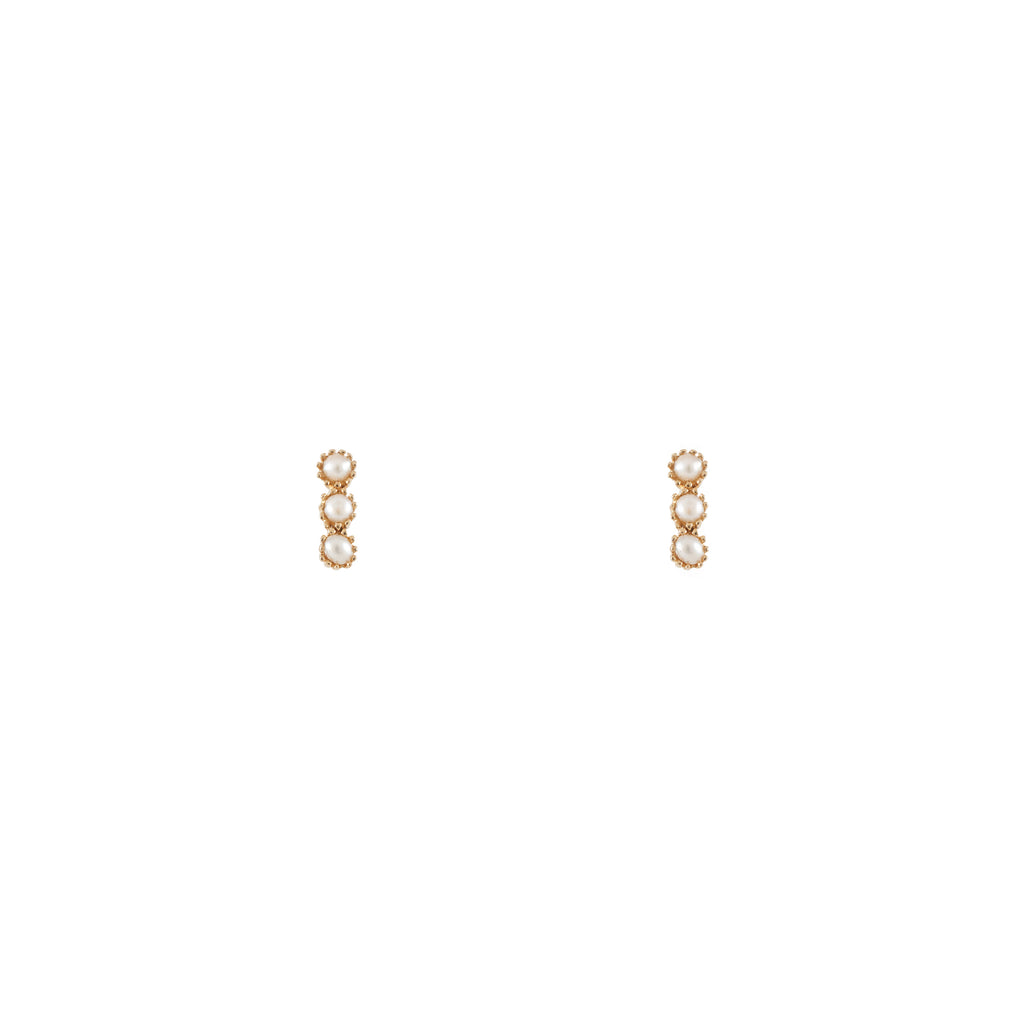 14k gold bitty pearl stick earrings