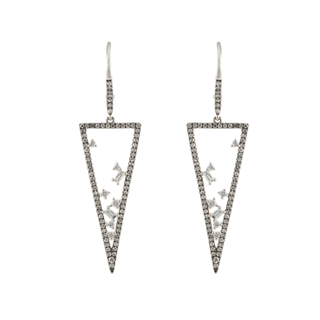 14k black rhodium diamond baguette hanging open triangle earrings