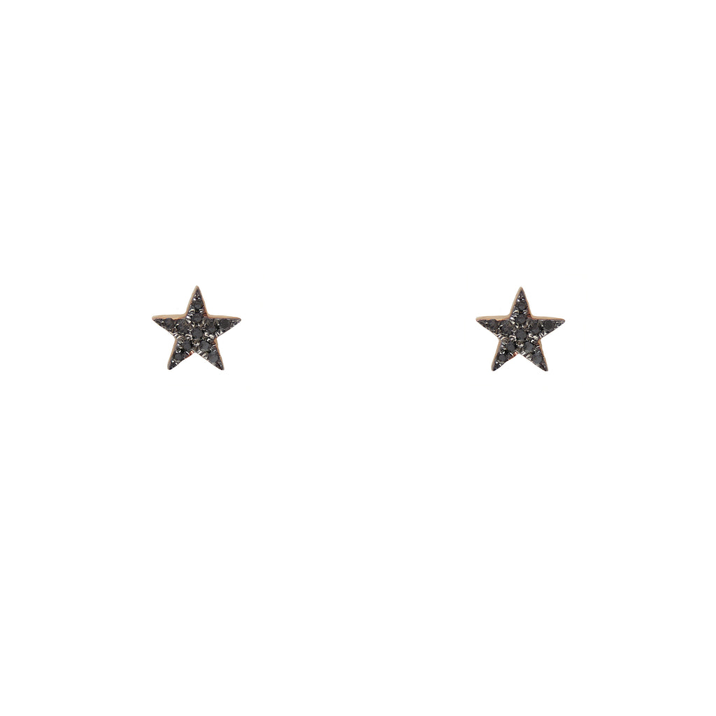 14k gold black diamond bitty star studs