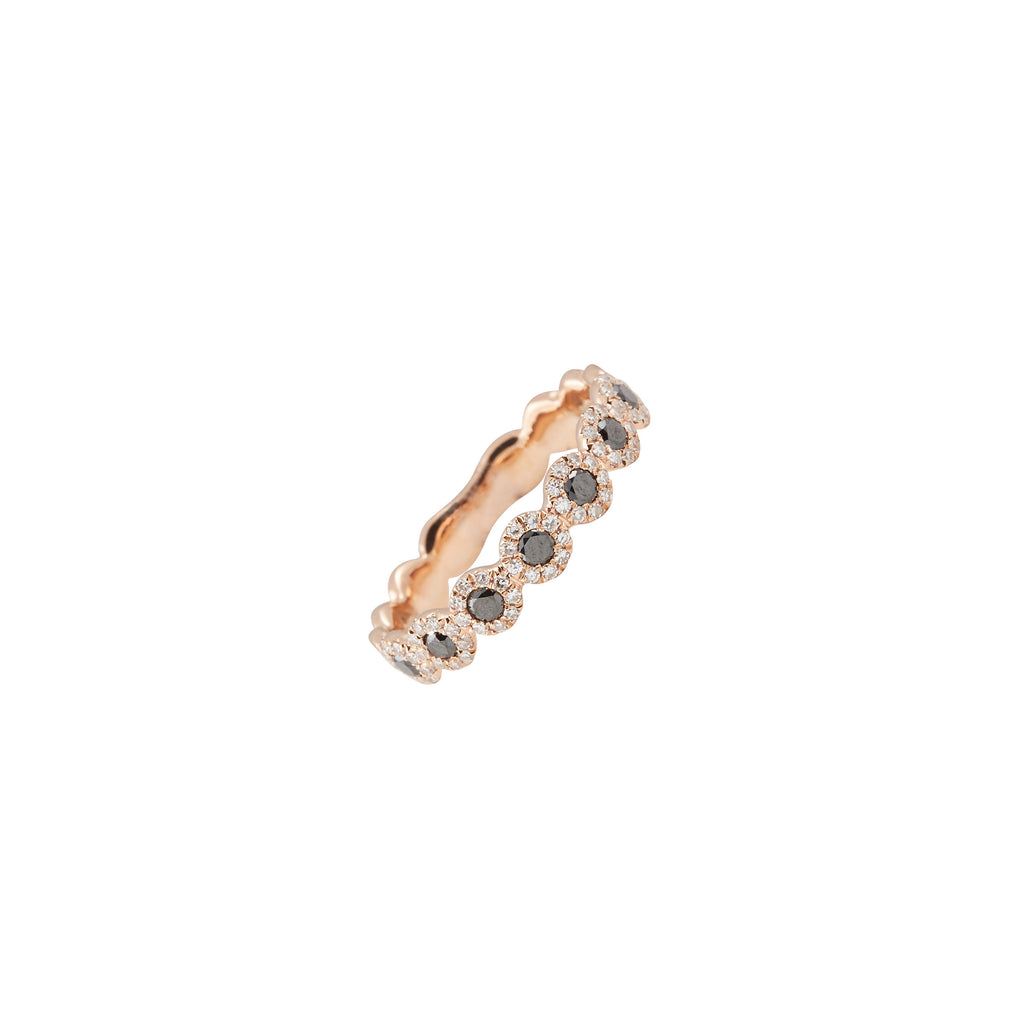 14k gold diamond and black diamond band