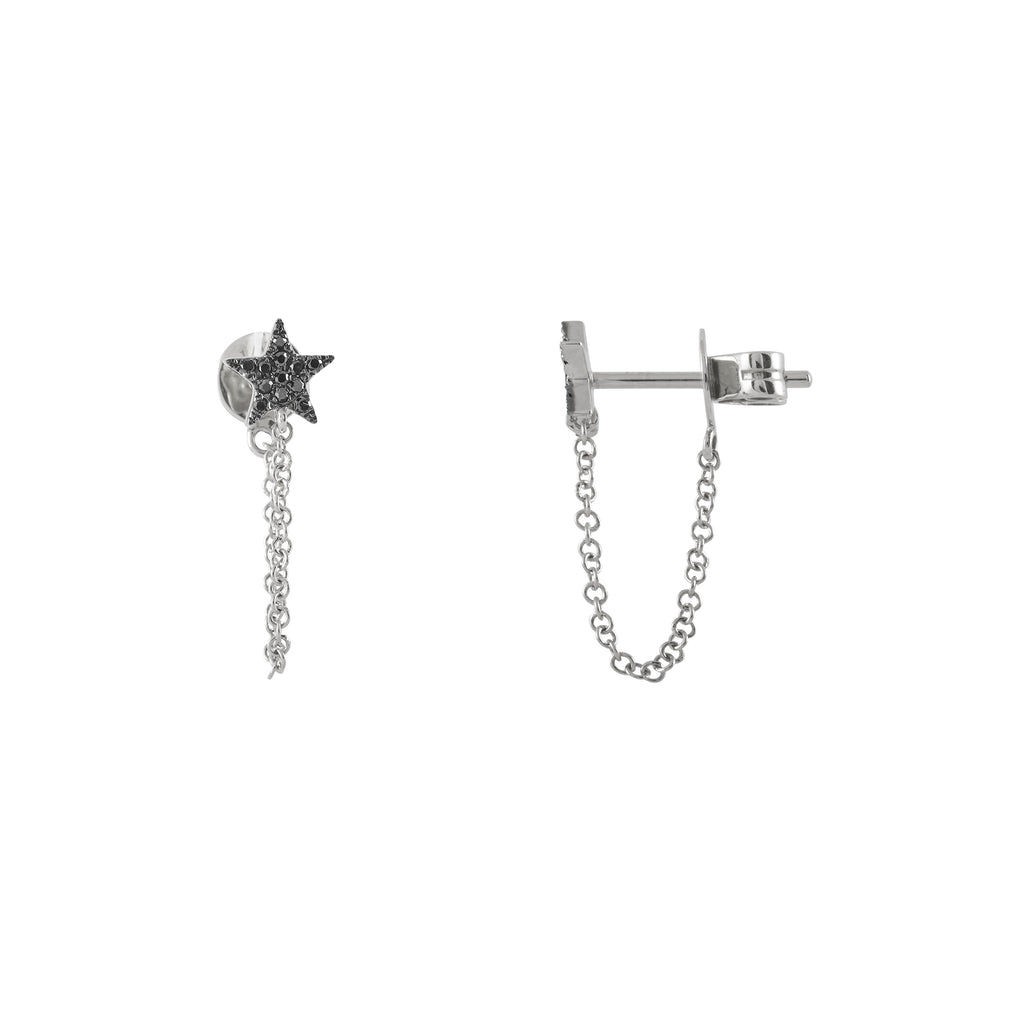 14k gold black diamond star stud with chain