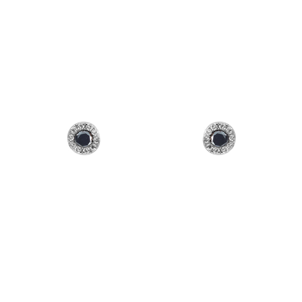14k gold black diamond white diamond studs