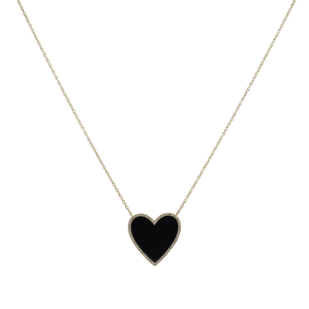 14k gold diamond black heart necklace