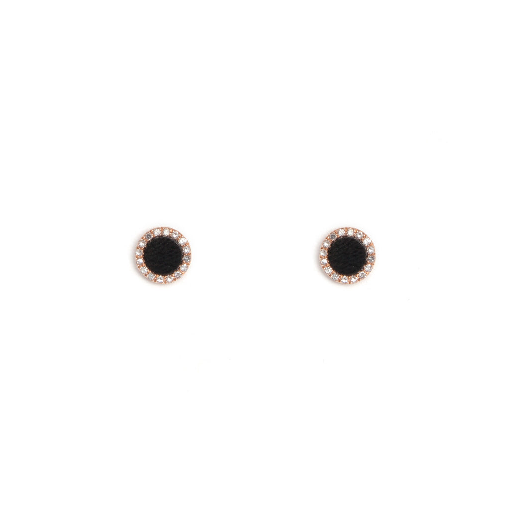 14k gold black onyx and diamond circle posts