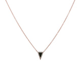 14k gold diamond black onyx oblong triangle necklace