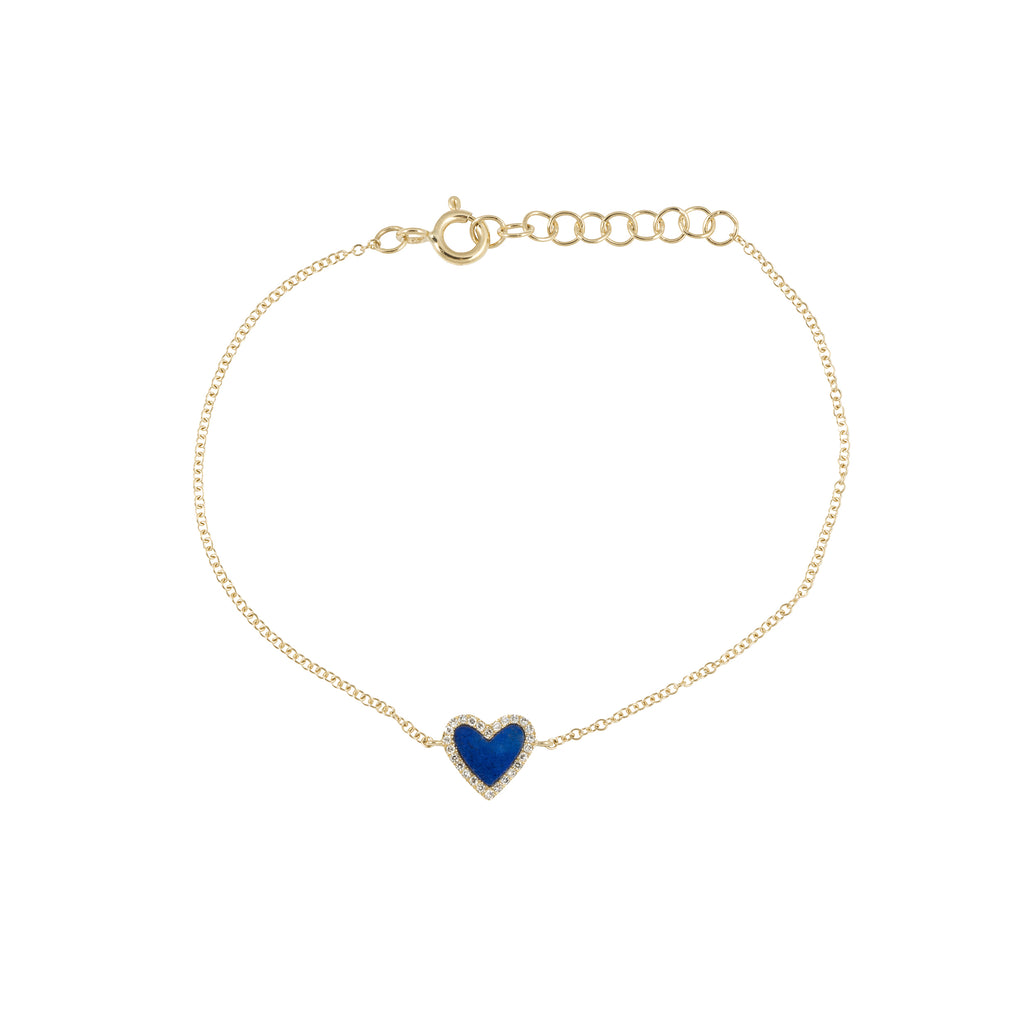 14k gold diamond blue lapis heart bracelet