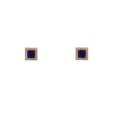 14k gold blue lapis and diamond square studs