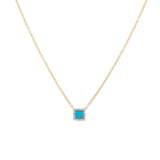 14k gold turq and diamond square necklace