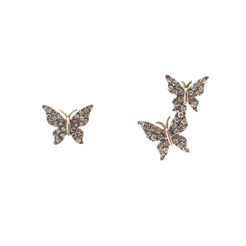 14k gold and black rhodium butterfly crawler and stud