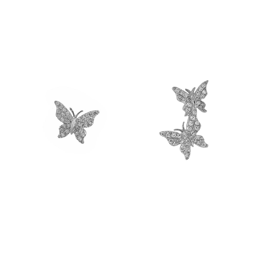14k gold diamond Butterfly Crawler and Stud