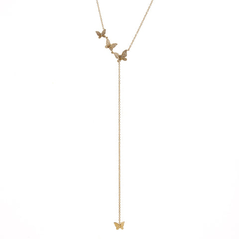 14k gold diamond butterfly lariat