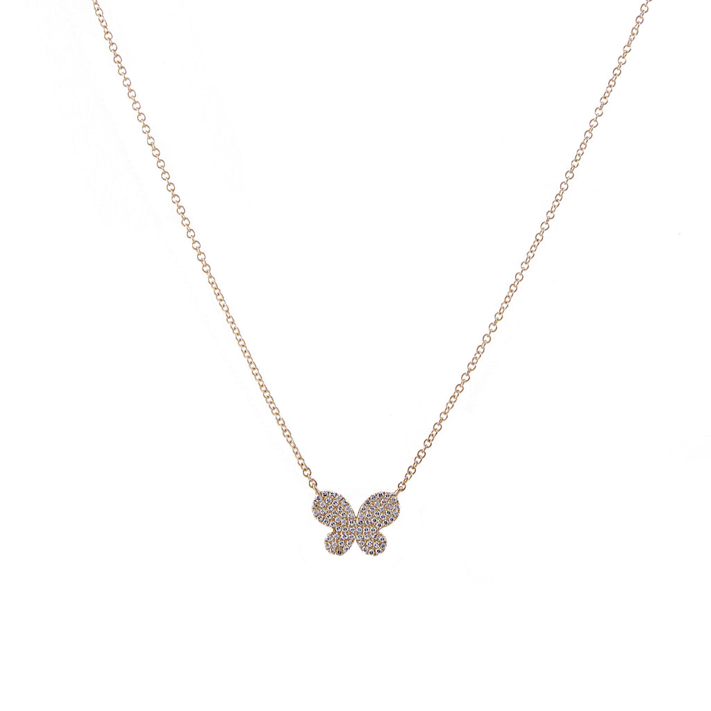 14k gold diamond butterfly necklace