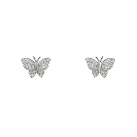14k diamond butterfly studs