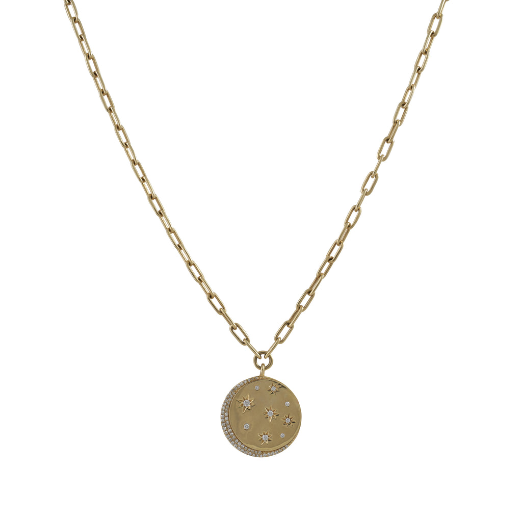 14k gold diamond celestial disk necklace