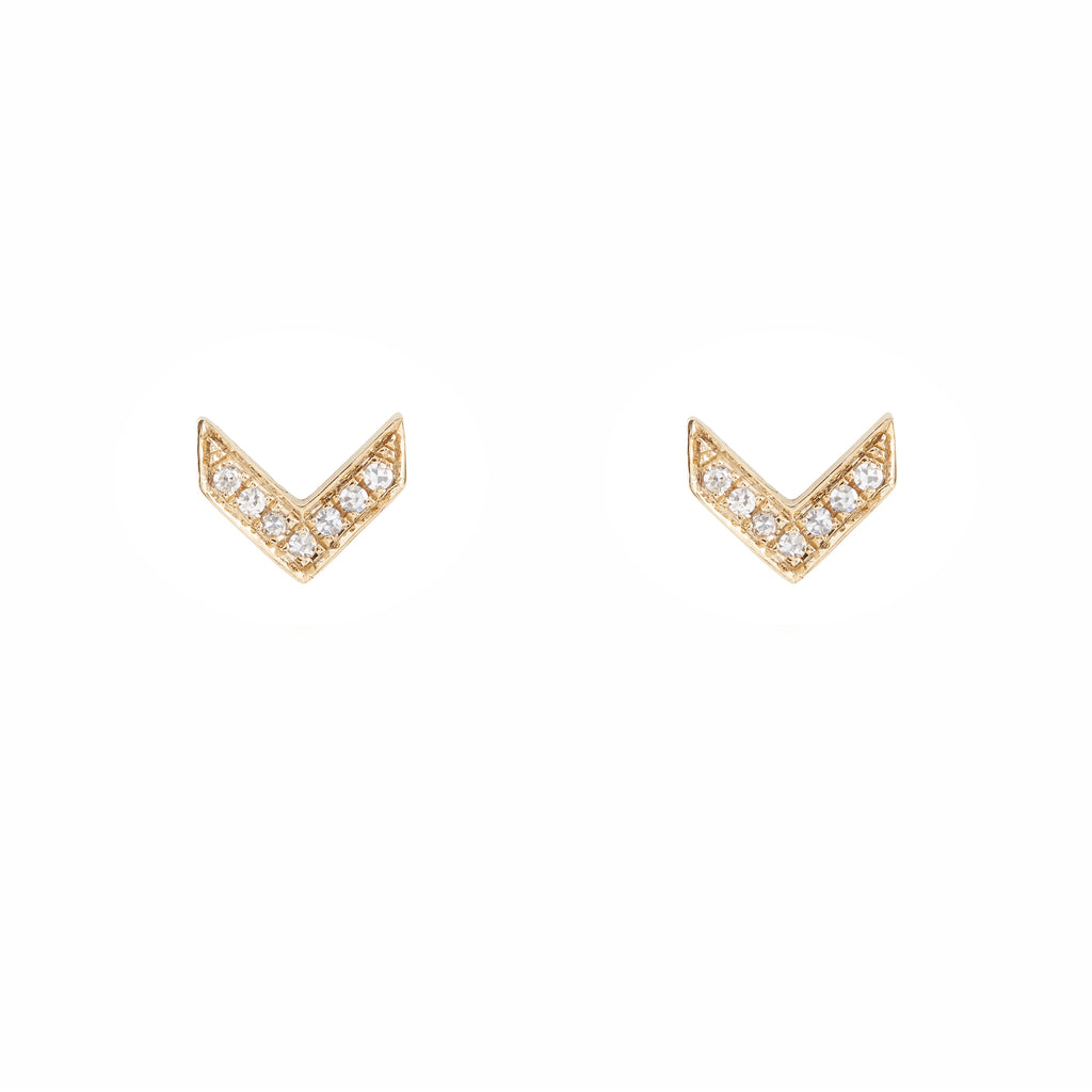 14k gold and diamond chevron posts
