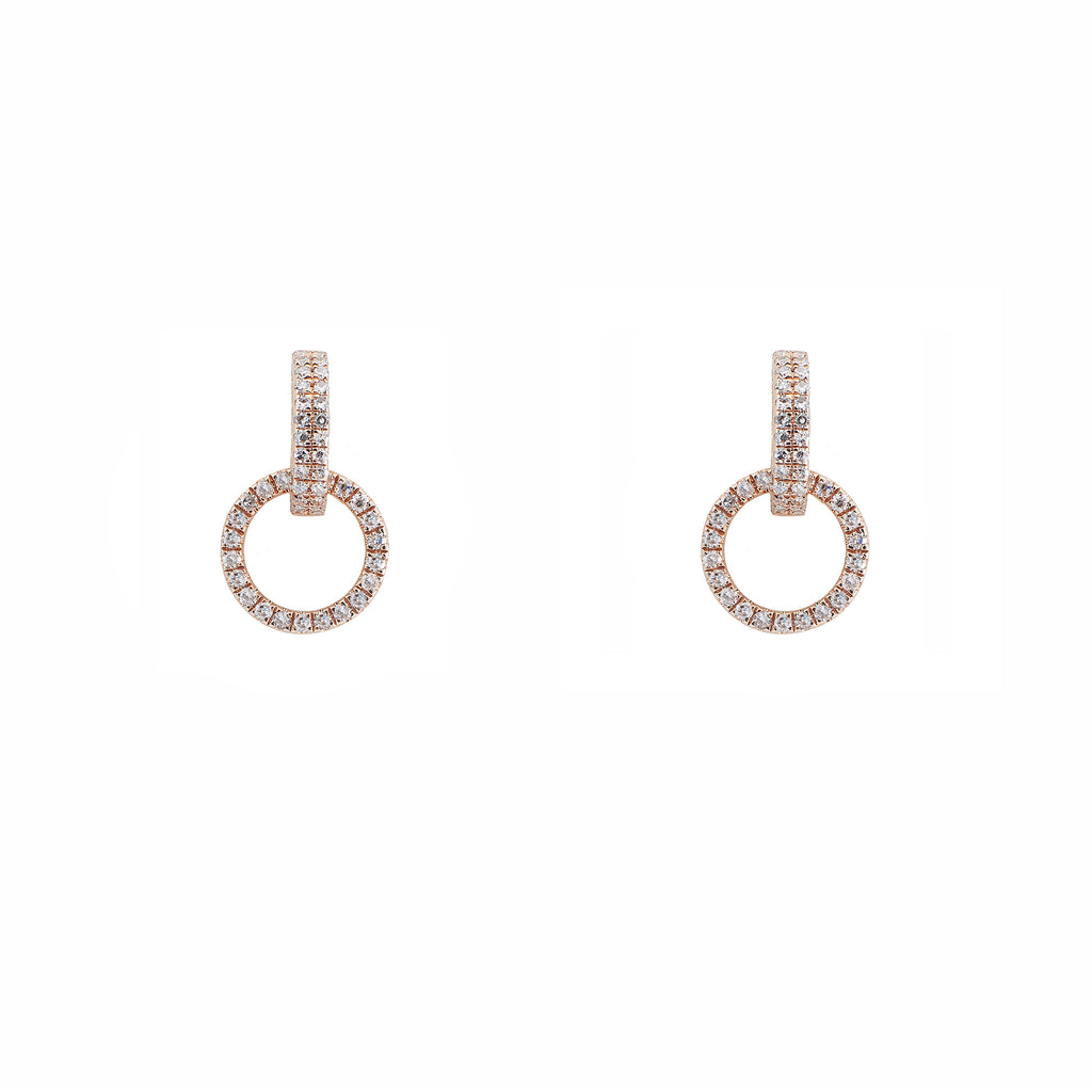14k gold diamond circle drop earring