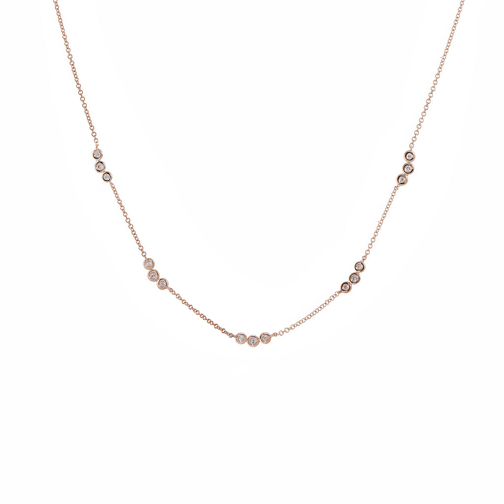 14k gold triple diamond bezel cluster necklace