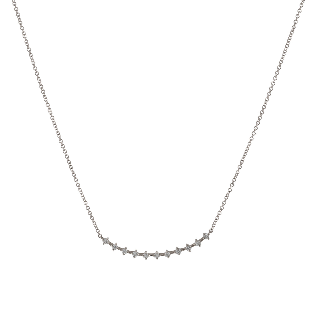 14k gold diamond curved bar necklace