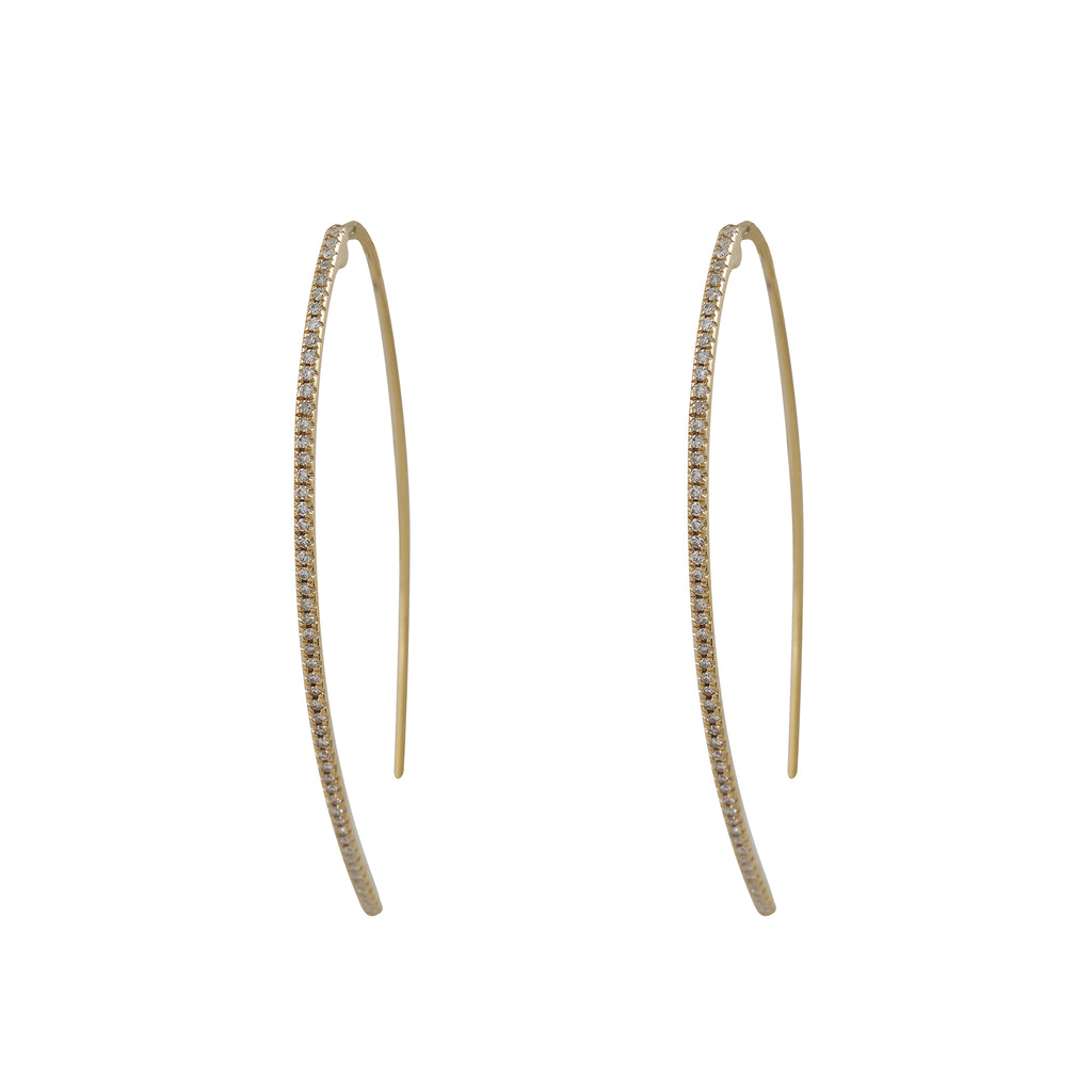 14k gold diamond curved stick earrings