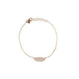 14k gold and diamond oval bracelet