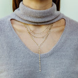 14k gold diamond bezel lariat
