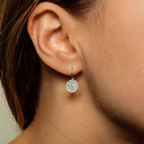 14k gold diamond disc drop earrings