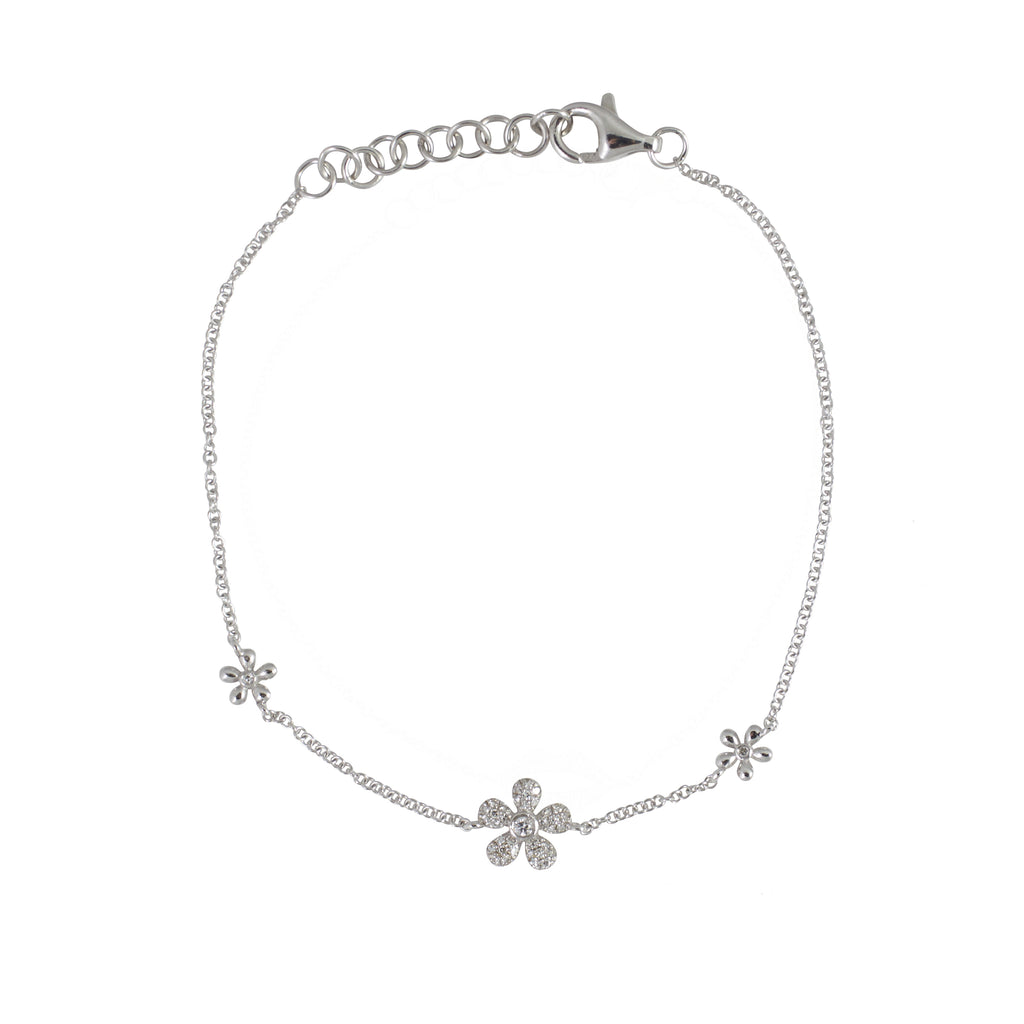 14k gold 3 diamond daisy bracelet