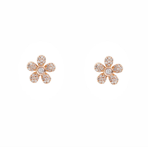 14k gold and diamond daisy studs - single