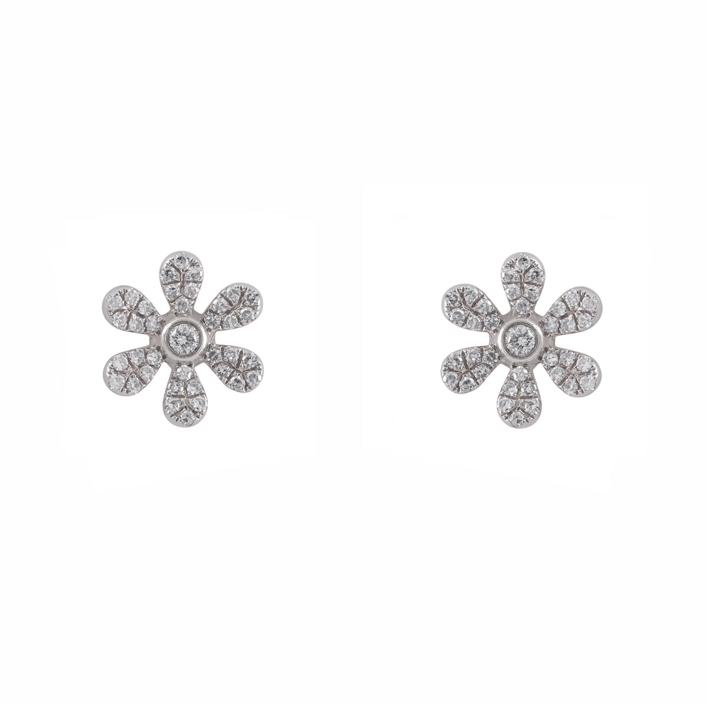 14k gold diamond large daisy studs