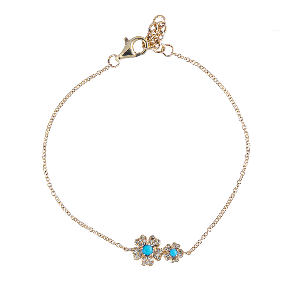 14k gold diamond double daisy bracelet