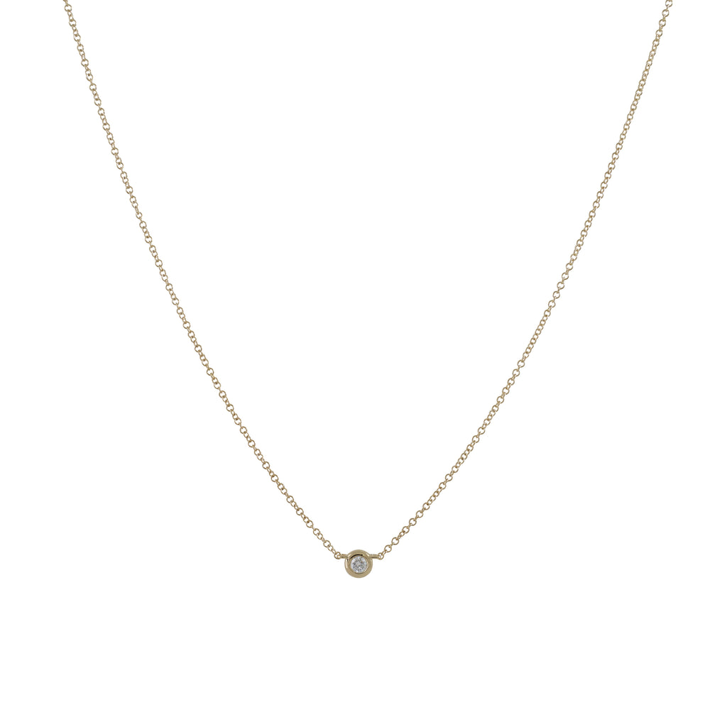 14k gold diamond bezel necklace