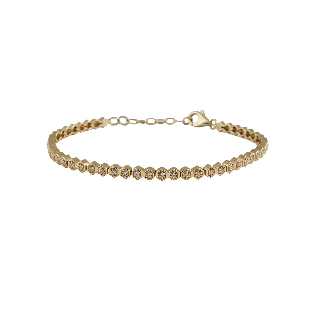14k gold diamond flower inset chain bracelet
