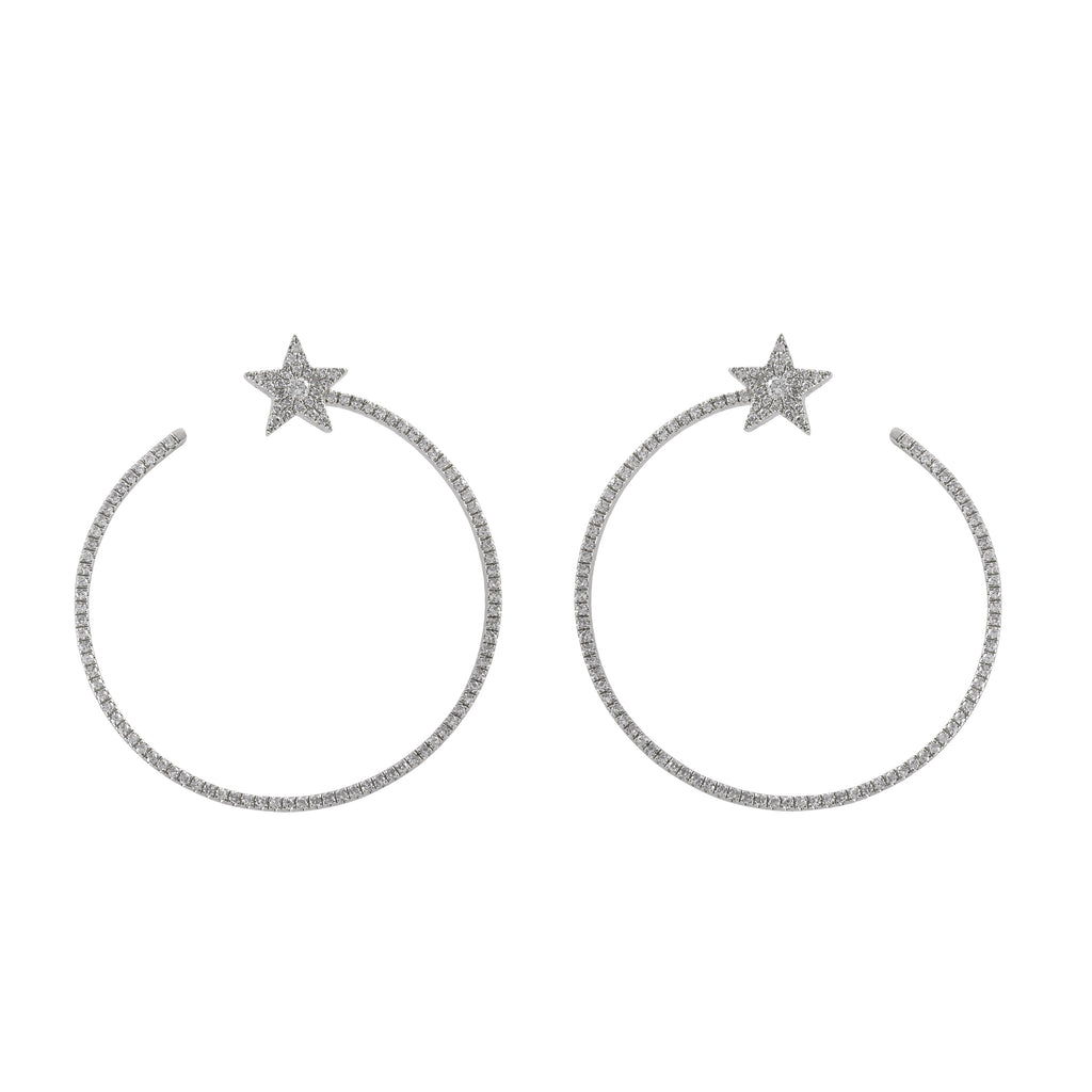 14k gold diamond star hoops with post