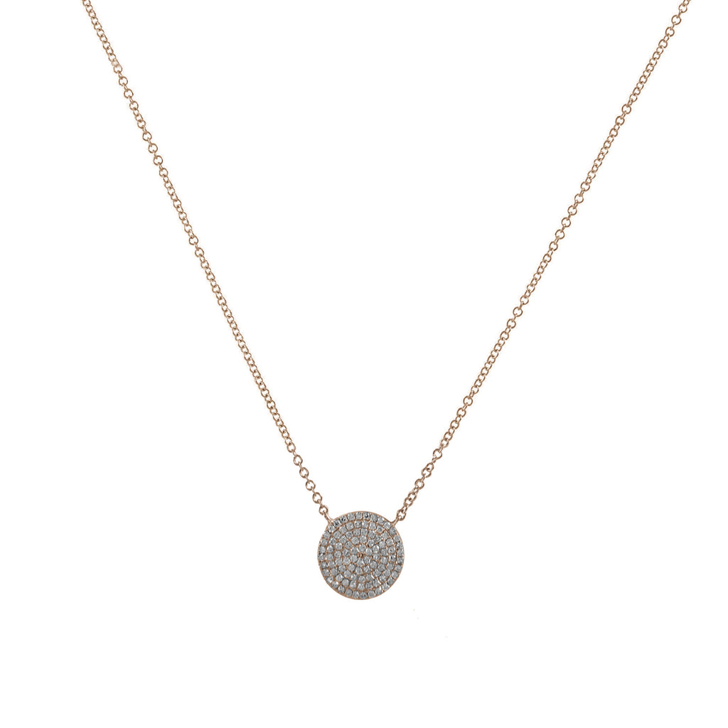 14k gold diamond disk necklace