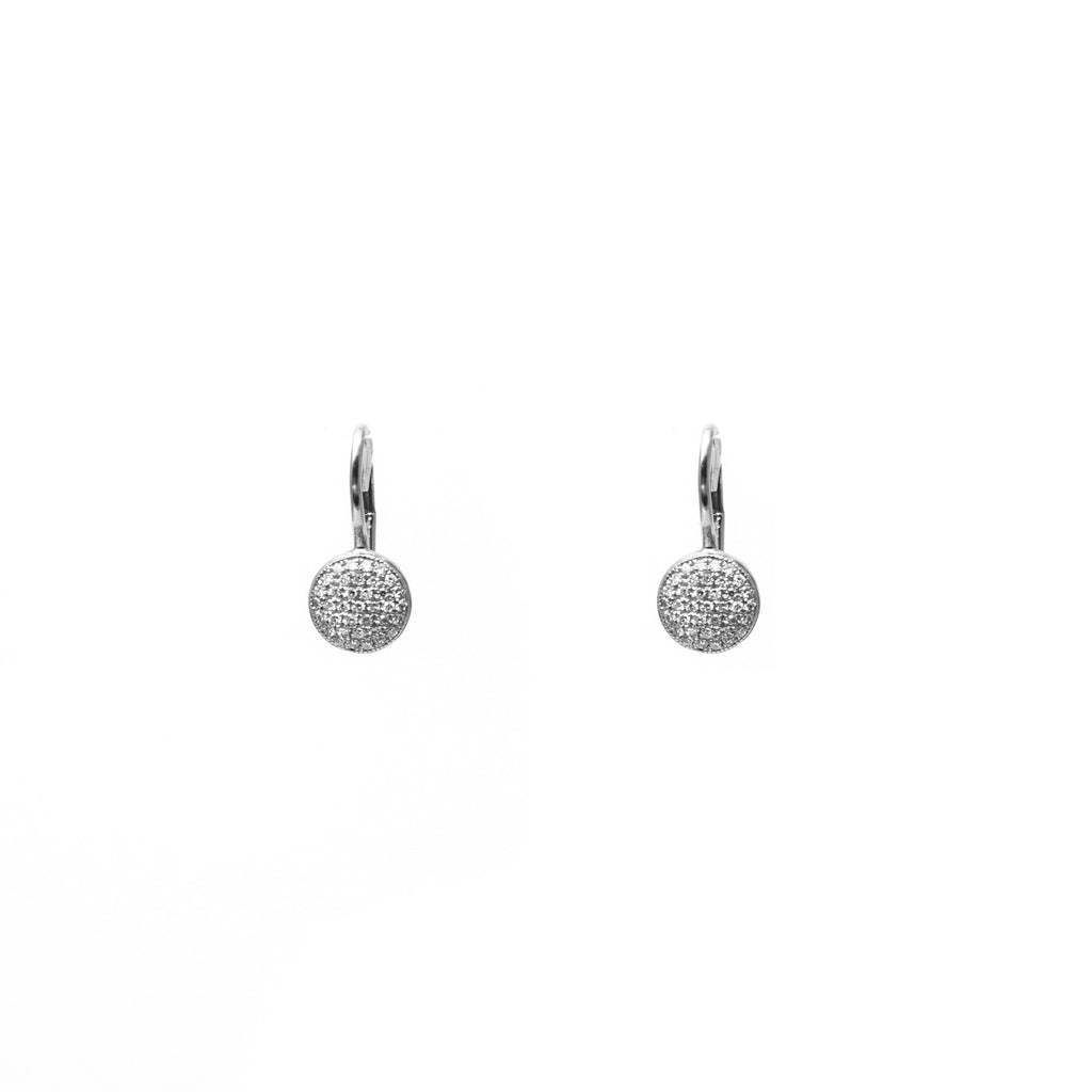 14k gold diamond domed disk drop earrings