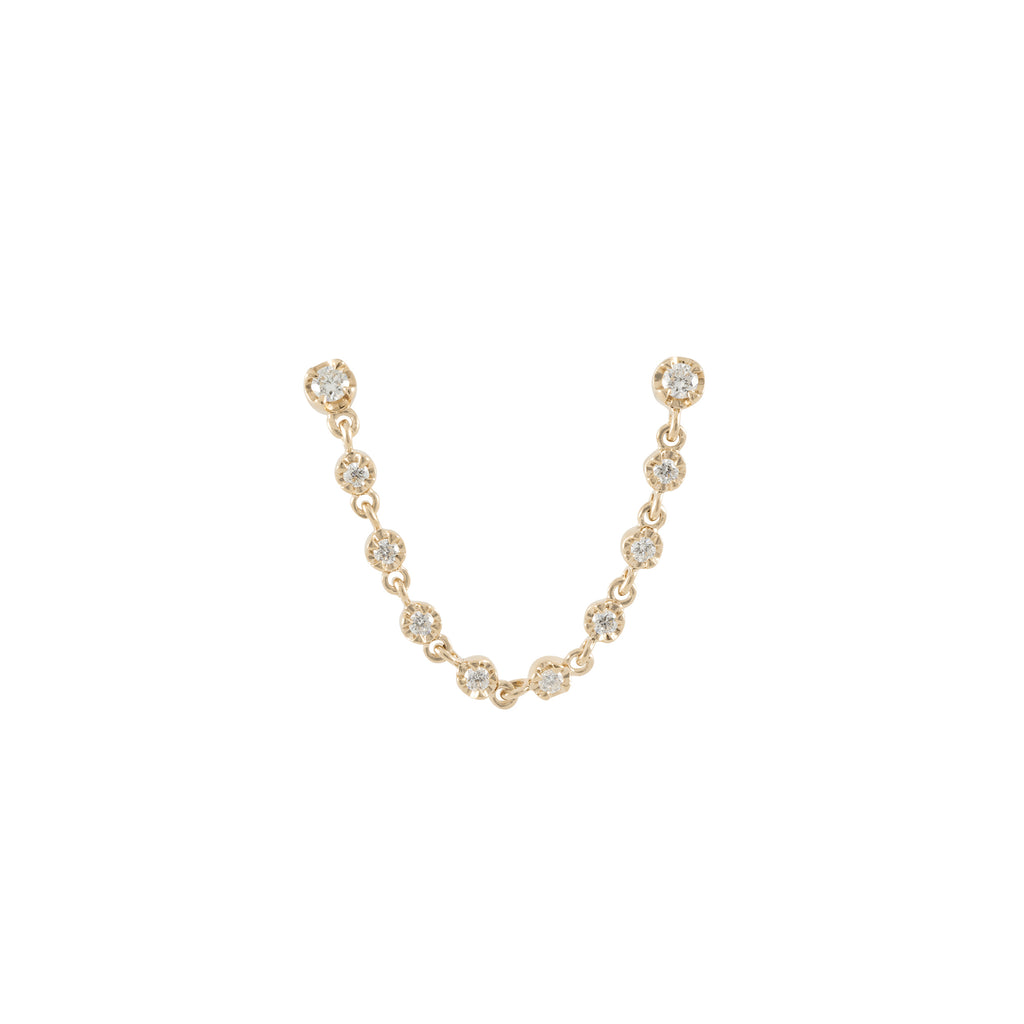 14k gold diamond bezel chain stud - single earring