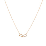 14k gold diamond double paperclip necklace