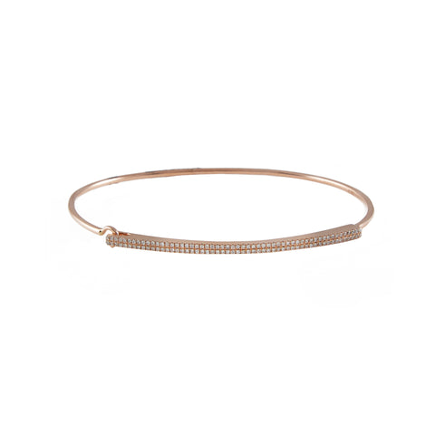 14k gold double row diamond bar bangle with closure