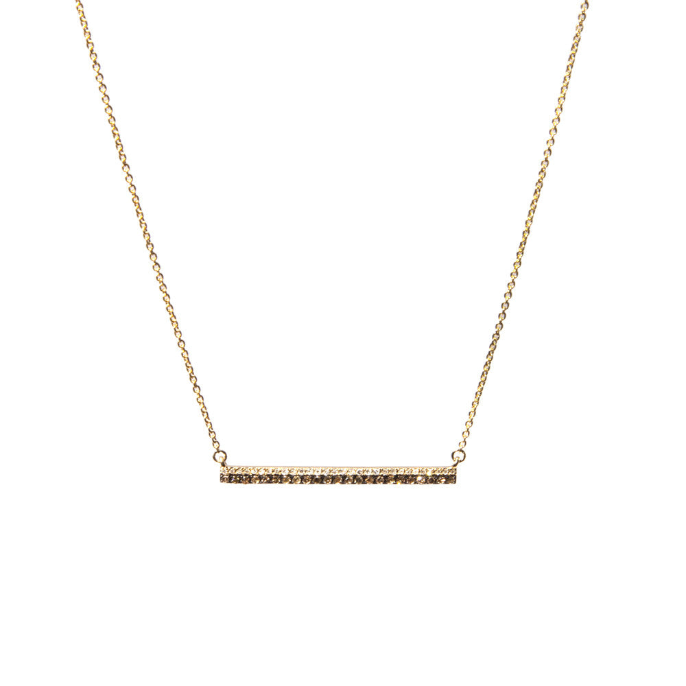 14k gold double diamond bar necklace