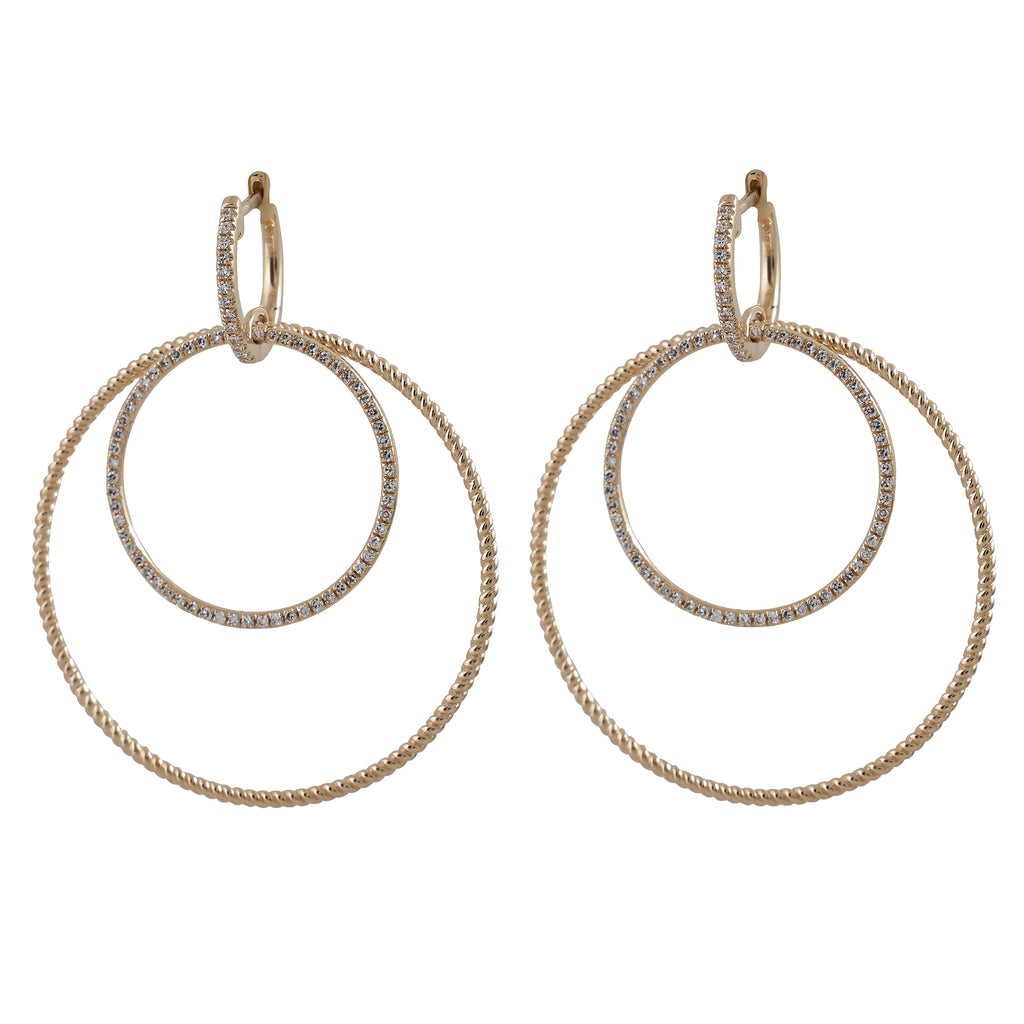 14k gold diamond double circle drops