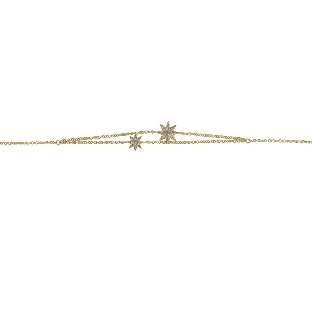 14k gold diamond double starburst bracelet